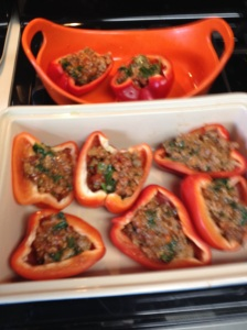 Peppers filled and ready to bake.