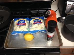 All you need is cauliflower florets, olive oil, salt and fresh lemon juice.