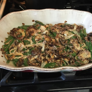 The green bean casserole, just out of the oven and ready to serve.