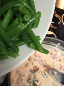 The green beans meeting the mushroom mixture.