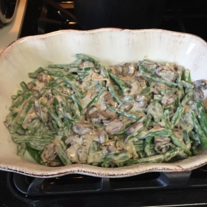 Green beans and onions mixed in well into the mushroom mixture.