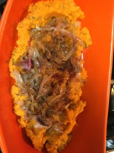 The final product -- rosemary mashed sweet potatoes with shallots.