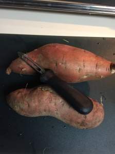 Here are the sweet potatoes before being peeled and diced.