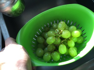 Wash the grapes well.