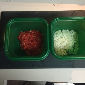 About 3/4 cup each chopped onion and tomato.