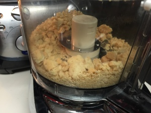 Just a few pulses in the food processor to get cookie crumbs. As I said largish pieces are ok.