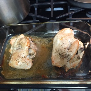 All browned and delicious, the stuffed chicken breasts are ready to come out of the oven.