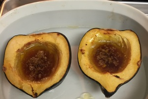 The roasted acorn squash just taken out of the oven.