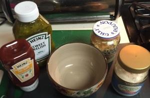 You'll need a small bowl and ketchup, relish, canola mayo, and Dijon.