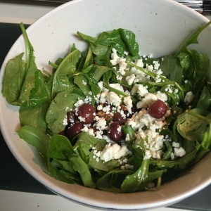 The final product:  roasted grape and toasted walnut and feta salad.