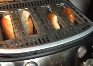 Into the toaster go the buns.