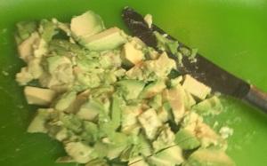 The avocado, roughly chopped.