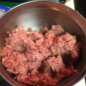 The star of the recipe, the ground turkey, ready to be added to the onion mixture, now cooling.