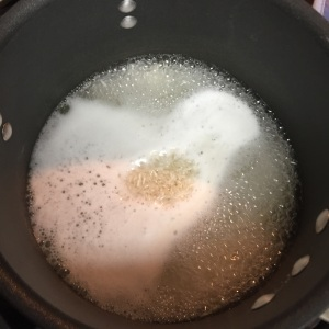 The water has bee brought to a boil.