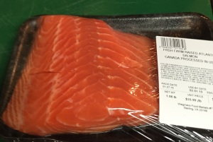 Here is the package containing the two salmon fillets I'm using in this recipe.