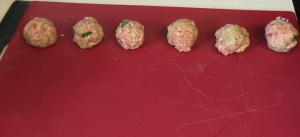 The first six meatballs formed.