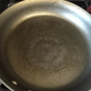 Our large skillet sprayed  with Pam.