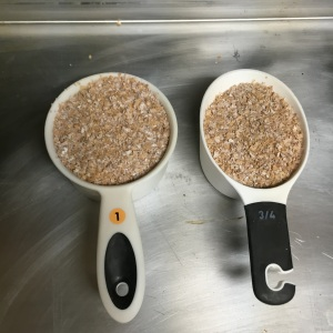 The wheat bran measured out.