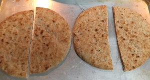Here is the flatbread after being lightly broiled.