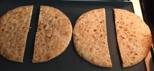 And here are the two pieces of flatbread now turned into four.