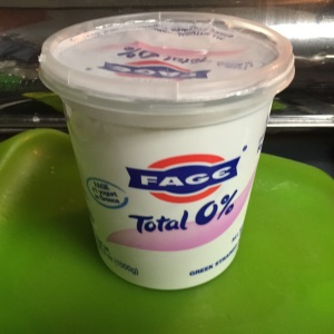 You'll need six ozs. of non-fat or low-fat Greek yogurt.