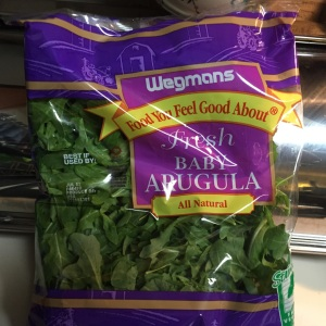 The salad recipe calls for 3 cups of arugula.