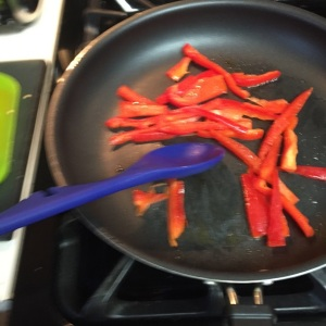 Stir the bell peppers often as you saute for two minutes to avoid burning.