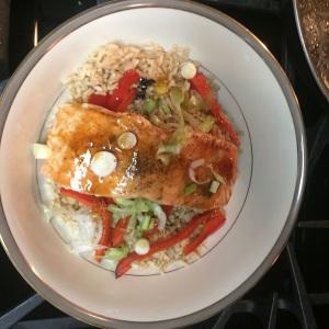 Our Teriyaki-glazed salmon and brown rice bowl.