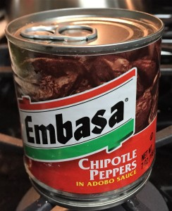 Here's the can of chile in adobe sauce I found at my store.