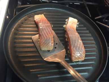 Time to flip the fillets over to continue grilling them.